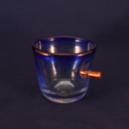 "Blue ""shot"" glass"